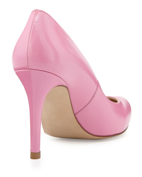 Stila Saffiano Round-Toe Pump, Candy (Pink)
