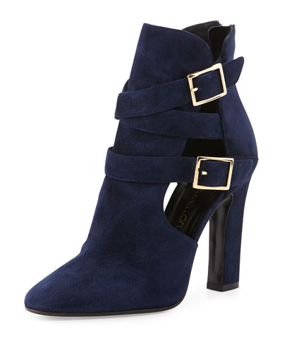 Tamara Mellon Suede Cutout Double-Buckle Ankle Boot, Navy