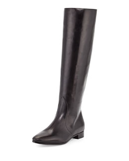 Prada Flat Almond-Toe Knee Boot, Nero