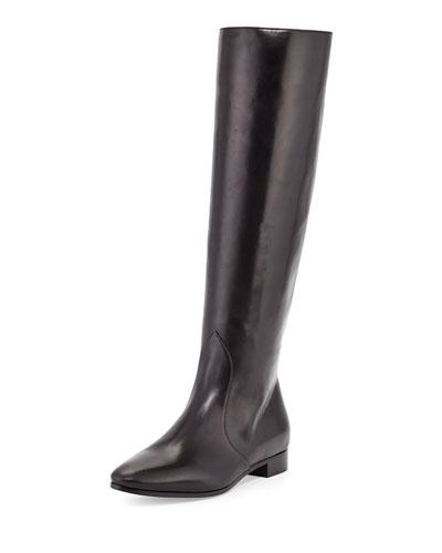 Prada Flat Almond-Toe Knee Boot, Nero