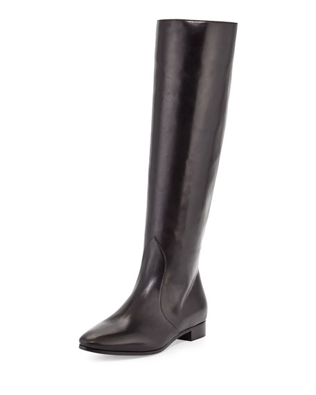 Flat Almond-Toe Knee Boot, Nero