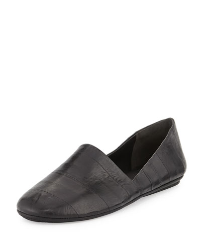 Bogart Eelskin Slip-On Flat, Black