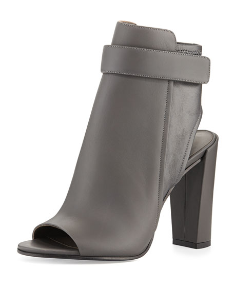 Vince Leather Peep-Toe Booties
