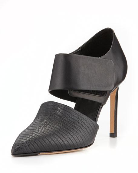 Capri Leather Ankle-Wrap Pump, Black