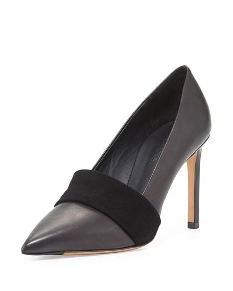 Carmel Leather Suede-Band Pump, Black