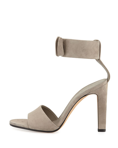 Gita Suede Ankle-Strap Sandal, Woodsmoke