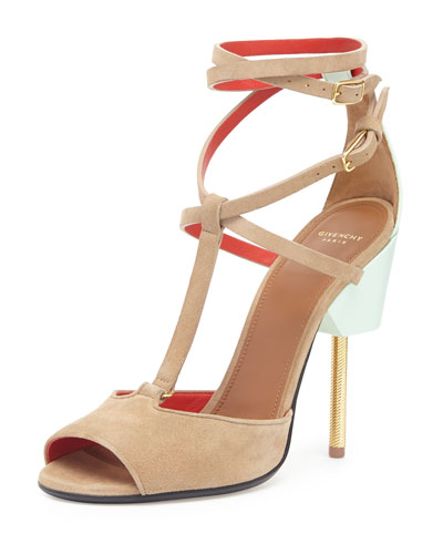 givenchy suede crisscross runway sandal blue brown