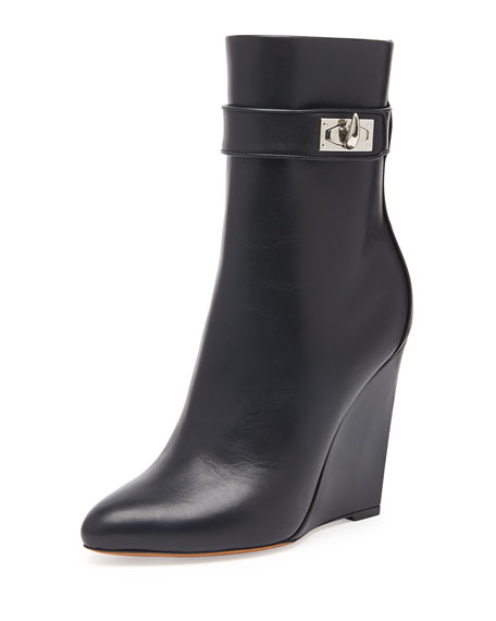 Shark Lock Wedge Ankle Boot, Black