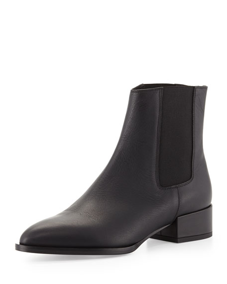 Vince Yale Gored Low-Heel Ankle Boot