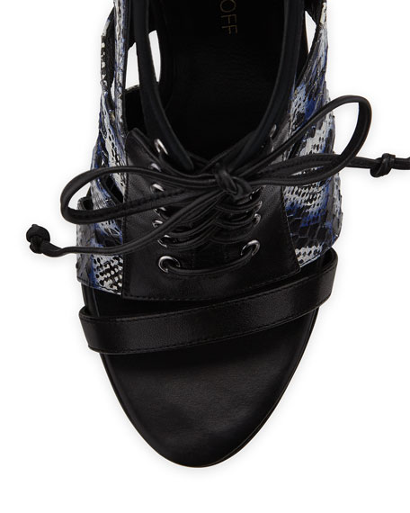 Reed Lace-Up Combo Bootie, Lapis Blue