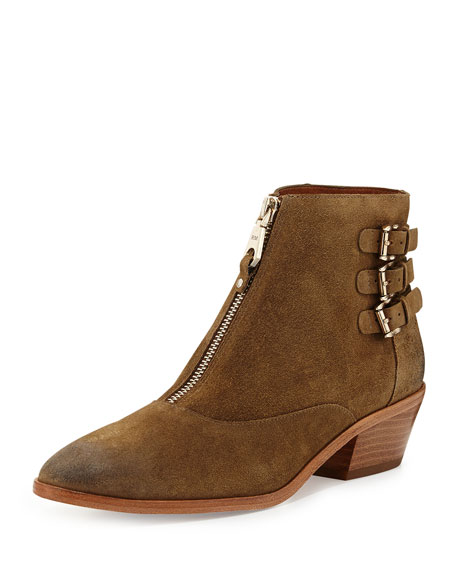 Alex Zip-Front Ankle Boot