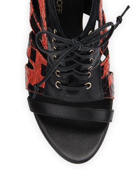 Reed Lace-Up Combo Bootie, Persimmon