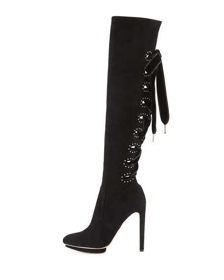 30724915ad6 Alexander McQueen Suede Lace-Up Back Knee Boot