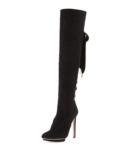 Alexander McQueen Suede Lace-Up Back Knee Boot, Black