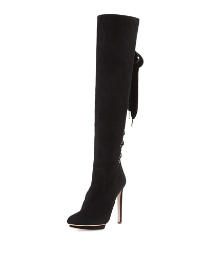 Suede Lace-Up Back Knee Boot, Black