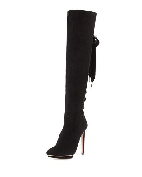 Alexander McQueen Suede Lace-Up Back Knee Boot, Black