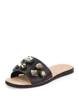 kate spade new york avila jeweled slide sandal, black