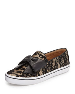 kate spade new york delise lace bow slip-on sneaker