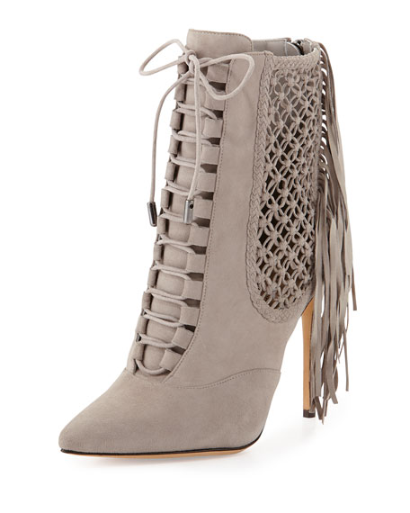 Suede Fringe Lace-Up Point-Toe Ankle Bootie, Gray