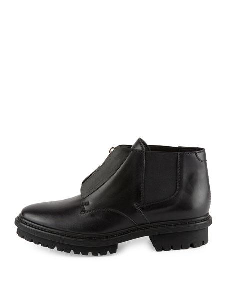 Zip-Front Leather Ranger Boot, Noir
