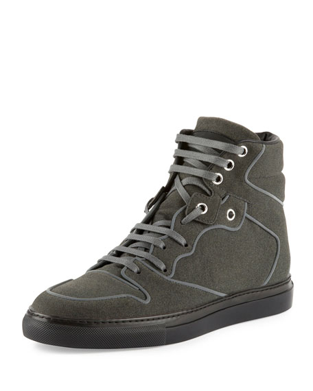 Flocked Goatskin High-Top Sneaker, Gris Elephant