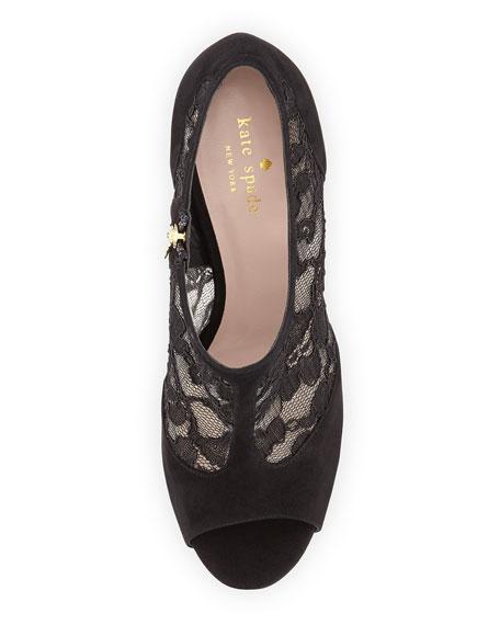 lorentina lace/suede peep-toe bootie