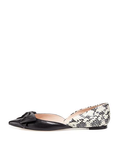 general point-toe bow flat, black