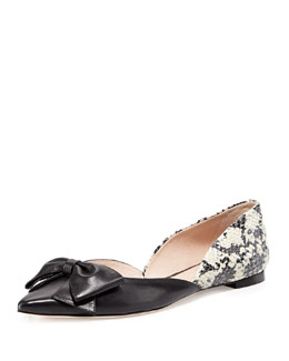 kate spade new york general point-toe bow flat, black