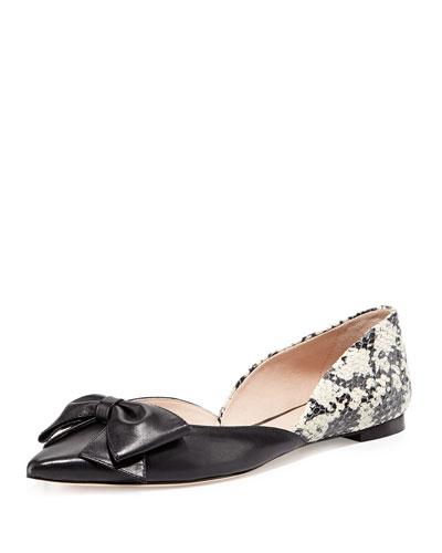 kate spade new york general point-toe bow flat, black
