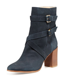 kate spade new york lexy double-buckle ankle boot, navy