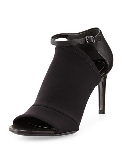 Balenciaga Neoprene Mid-Heel Glove Sandal, Noir