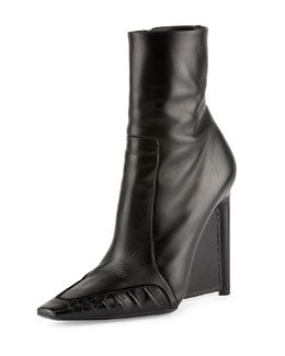 Balenciaga Alligator-Trim Leather Ankle Boot, Noir