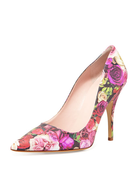 licorice floral-print leather pump