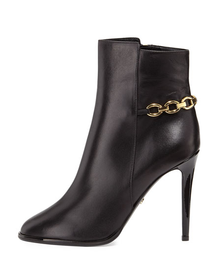 Beckett Leather Chain Bootie, Black