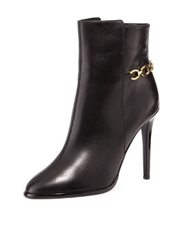 Diane von Furstenberg Beckett Leather Chain Bootie, Black