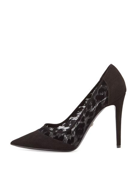 Bianca Leopard-Print Mesh Pump, Black