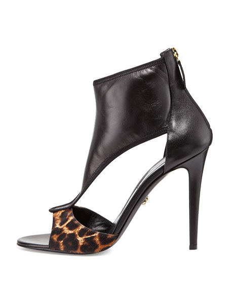 Uffie Leather T-Strap Sandal, Camel/Black