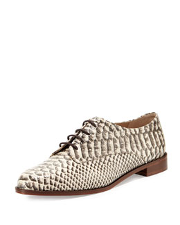 Diane von Furstenberg Ziggy Snake-Print Leather Oxford, Natural