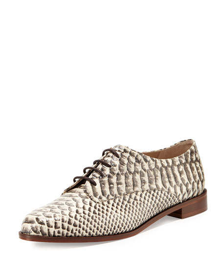 Ziggy Snake-Print Leather Oxford, Natural