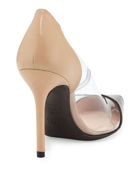 Onview PVC/Leather Pointed-Toe Pump, Adobe/Black