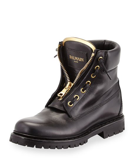 Zip-Front Leather Ranger Boot, Black