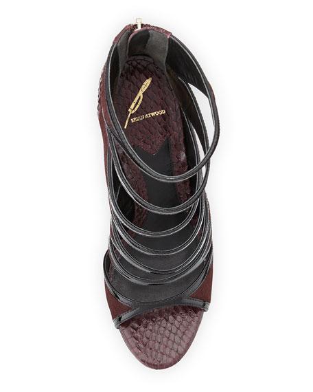 Lynnden Strappy Calf Hair Sandal, Dark Red