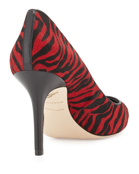 Malika Striped Calf Hair Pump, Red/Black