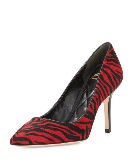 Malika Striped Calf Hair Pump, Red/Black