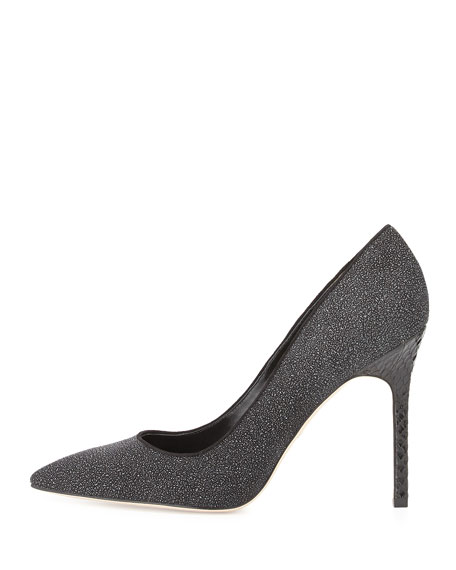 Naina Textured Suede Point-Toe Pump, Black