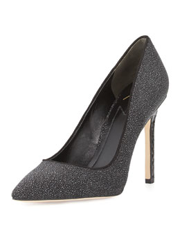 B Brian Atwood Naina Textured Suede Point-Toe Pump, Black
