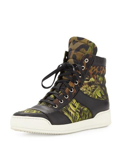Balmain Jungle Print Canvas High-Top Sneaker