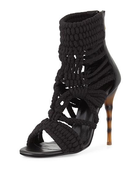 Macrame Bamboo-Heel Sandal, Black