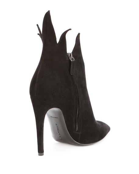 Suede Chrysanthemum Ankle Boot, Nero