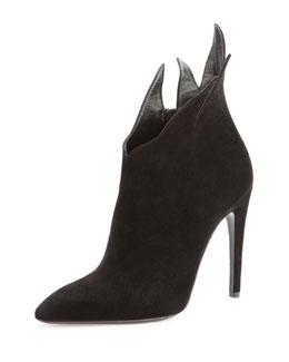 Bottega Veneta Suede Chrysanthemum Ankle Boot, Nero